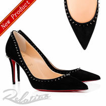 Christian Louboutin Suede Studded Plain Pin Heels Elegant Style