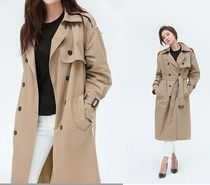 BEIGE CHUU Casual Style Plain Long Oversized Trench Coats