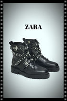 ZARA Plain Toe Studded Leather With Jewels Elegant Style