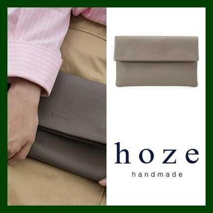 Casual Style Plain Leather Clutches