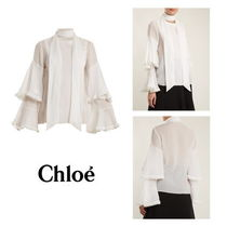 Chloe Long Sleeves Plain Cotton Medium Elegant Style