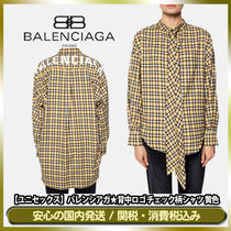 BALENCIAGA Other Check Patterns Casual Style Unisex Long Sleeves Cotton