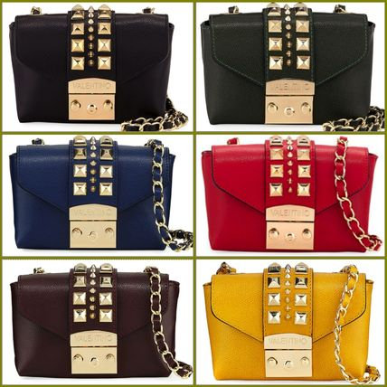 Studded Chain Plain Leather Elegant Style Shoulder Bags