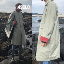 ASCLO Unisex Street Style Long Oversized Trench Coats