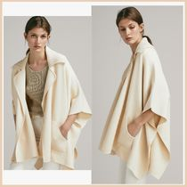 Massimo Dutti Casual Style Wool Plain Medium Ponchos & Capes
