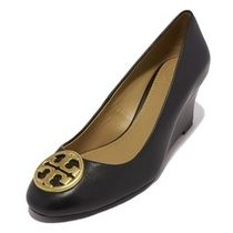 Tory Burch Plain Leather Office Style Wedge Pumps & Mules