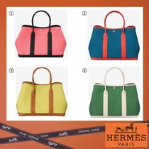 HERMES Garden Party Casual Style Unisex Canvas Blended Fabrics A4 Plain Totes