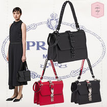 PRADA ELEKTRA Studded 2WAY Plain Leather Elegant Style Shoulder Bags