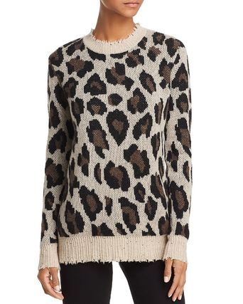 Crew Neck Leopard Patterns Casual Style Cashmere