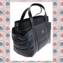 MONCLER Blended Fabrics 2WAY Plain Leather Elegant Style Totes