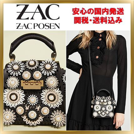 Flower Patterns 2WAY Leather With Jewels Elegant Style
