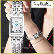 CITIZEN Metal Square Quartz Watches Office Style Analog Watches