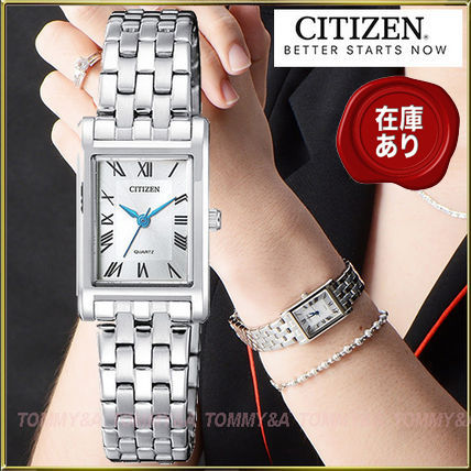 Metal Square Quartz Watches Office Style Analog Watches