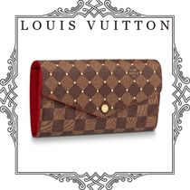 Louis Vuitton DAMIER Other Check Patterns Canvas Studded Long Wallets