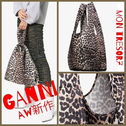 Leopard Patterns Casual Style A4 2WAY Totes