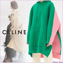 CELINE Bi-color Long Sleeves Plain Cotton Long Oversized