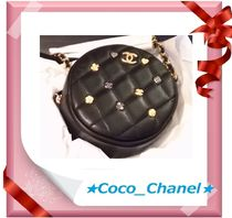 CHANEL Lambskin Plain Party Style Shoulder Bags