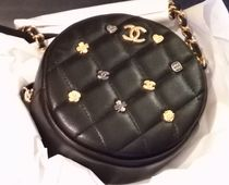 CHANEL Lambskin Plain Party Style Crossbody Shoulder Bags