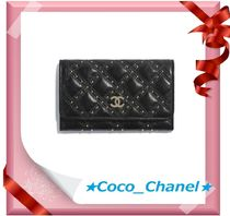 CHANEL Lambskin Plain Folding Wallet Folding Wallets