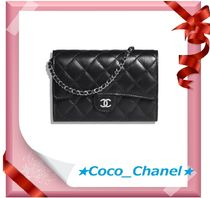 CHANEL CHAIN WALLET Lambskin Plain Shoulder Bags