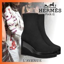 HERMES Square Toe Plain Leather Elegant Style Wedge Boots