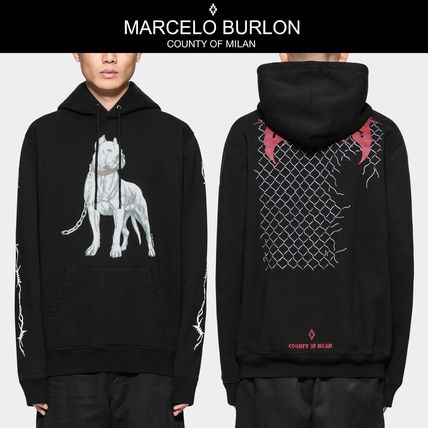 Marcelo Burlon Hoodies Pullovers Unisex Street Style Long Sleeves Hoodies