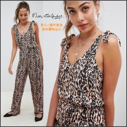 Leopard Patterns Casual Style Sleeveless V-Neck Long Dresses