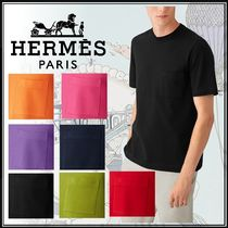 HERMES Unisex Street Style U-Neck Plain Cotton Short Sleeves