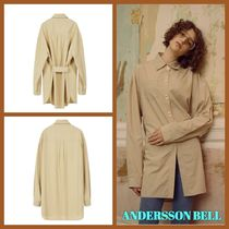 ANDERSSON BELL Casual Style Long Sleeves Plain Cotton Long Oversized