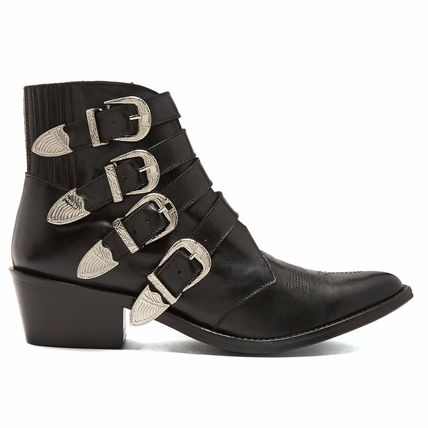 Casual Style Plain Leather Ankle & Booties Boots
