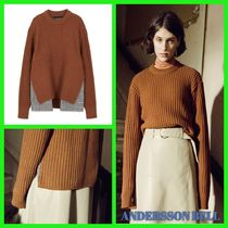ANDERSSON BELL Cable Knit Zigzag Casual Style U-Neck Long Sleeves Plain