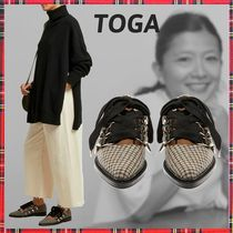 TOGA Other Check Patterns Casual Style Block Heels Ballet Shoes