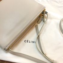 CELINE Trio Bag 2WAY Plain Leather Elegant Style Shoulder Bags