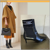 FENDI Plain Leather Pin Heels Elegant Style Ankle & Booties Boots
