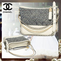 CHANEL Calfskin Blended Fabrics Bi-color Chain Plain Elegant Style