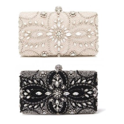 Flower Patterns 2WAY Chain Party Style With Jewels Clutches