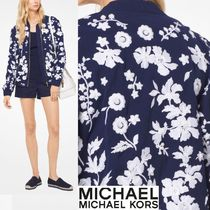 Michael Kors Flower Patterns Street Style Bomber Jackets