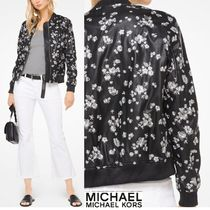 Michael Kors Flower Patterns Faux Fur Bomber Jackets