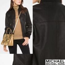 Michael Kors Plain Leather Bomber Jackets