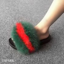Open Toe Casual Style Faux Fur Street Style Shower Shoes
