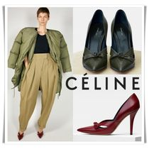 CELINE Plain Leather Pin Heels Elegant Style Bold