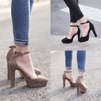 Plain Toe Suede Plain Block Heels Home Party Ideas