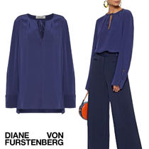 DIANE von FURSTENBERG Crew Neck Silk Long Sleeves Plain Elegant Style