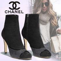 CHANEL Plain Toe Suede Bi-color Plain Pin Heels
