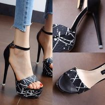 Open Toe Casual Style Pin Heels Stiletto Pumps & Mules