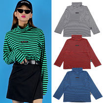 BASIC COTTON Stripes Unisex Street Style Long Sleeves Cotton Medium
