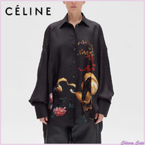 CELINE Casual Style Silk Long Sleeves Medium Oversized
