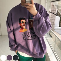 Unisex Sweat Street Style Long Sleeves Plain Oversized