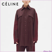 CELINE Stripes Casual Style Wool Long Sleeves Plain Medium