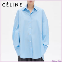 CELINE Long Sleeves Plain Cotton Long Oversized Elegant Style